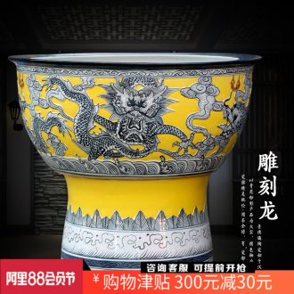 Jingdezhen ceramic floor furnishing articles carved dragon fish tank cylinder tortoise home sitting room study office decoration