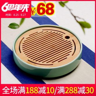Beauty cabinet ceramic water tea tray creative circular dry tea home small office Japanese tea bamboo sea