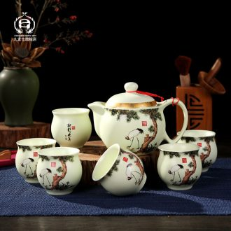 DH of jingdezhen tea service suit household double anti hot cup teapot office of a complete set of kung fu tea cups