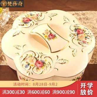 Vatican Sally's European compote luxury home sitting room large ceramic dry fruit tray frame with cover candy box snack plate
