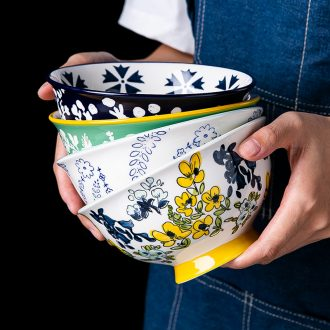 Under the glaze color ceramic creative personality household soup bowl bowl japanese-style tableware a single large one student rainbow noodle bowl