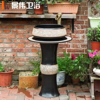 JingWei ceramic lavatory basin vertical integrated sink pillar basin sink outdoor balcony sink