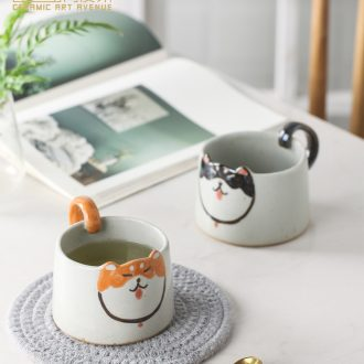 Mark cup Nordic ins cartoon dog ceramic coffee cup manually cute shiba inu creative valentine's birthday present