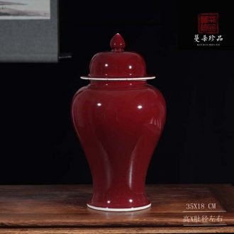 Jingdezhen ruby red glaze ceramic straight tank general color glaze pot festival watermelon red wedding supplies