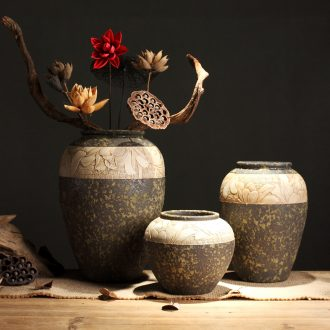 Zen POTS of new Chinese style restoring ancient ways of coarse some ceramic porcelain vase dry flower pot of primitive simplicity manual sculpture decorative furnishing articles
