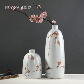 Modern new Chinese vase furnishing articles hand-painted plum blossom white ceramic sitting room TV ark flower arranging zen household act the role ofing is tasted