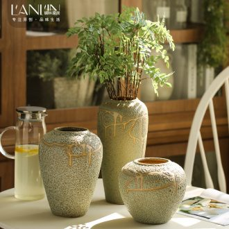 Ceramic vase furnishing articles creative living room coarse pottery flower arranging dried flowers european-style mesa contracted and contemporary tea table decorations