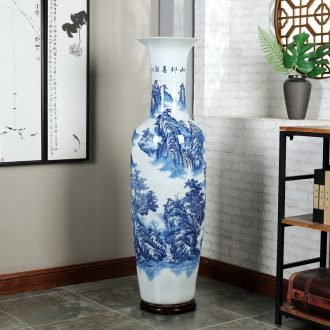 Jingdezhen blue and white ceramics guest-greeting pine hotel opening arranging flowers potted sitting room adornment is placed large vase