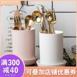Ijarl million fine ceramic chopsticks tube household chopsticks box monocular receive free chopsticks tube punching drop Ceylon island