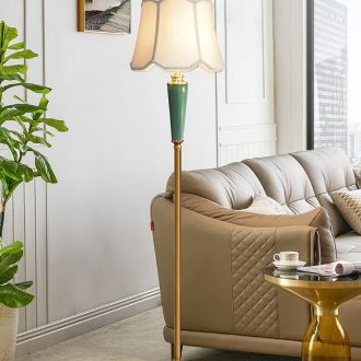 American ceramic sitting room floor lamp Nordic light villa luxury contracted restaurant bedroom whole copper vertical desk lamp of the head of a bed