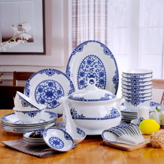 The dishes suit household of Chinese style jingdezhen fine white porcelain tableware high-grade porcelain gifts glair blue and white porcelain plate