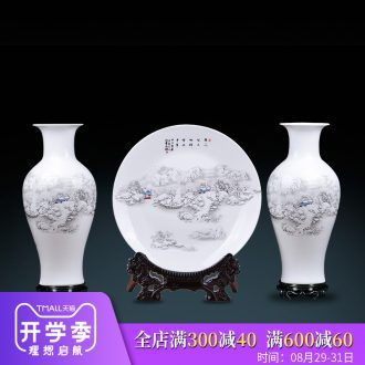 Jingdezhen ceramic vase three-piece furnishing articles sitting room TV ark Chinese antique home decoration decoration is large