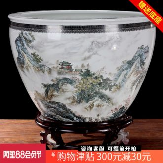 Jingdezhen ceramics brocade carp goldfish bowl water lily cylinder landscape water lily lotus cylinder cylinder tortoise home decoration