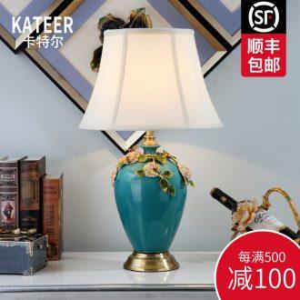 Cartel type simple colored enamel porcelain lamp warm bedroom berth lamp sitting room study chandeliers