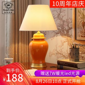New Chinese style lamp light ceramic desk lamp of bedroom the head of a bed the sitting room is the study of modern decoration creative zen lamp act the role ofing restoring ancient ways