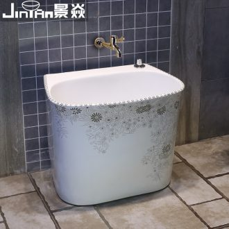 Washing basin mop mop pool rectangle JingYan European art ceramic mop pool table control automatic mop pool water