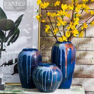 Jingdezhen ceramic vases, antique flow glaze style villa garden furnishing articles furnishing articles jar adornment household desktop