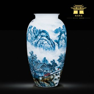 Master of jingdezhen ceramics hand-painted big vase home sitting room adornment is placed the hotel villa arts and crafts