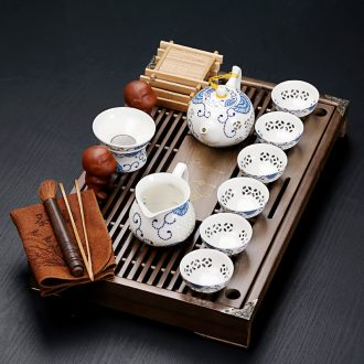Looking old crack kung fu tea set, ceramic and exquisite ice solid wood drainage tea tray small tea table office home outfit