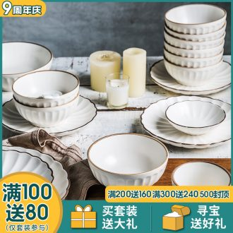 4 dishes suit household utensils dishes contracted wind Nordic combined creative personality ceramic bowl chopsticks web celebrity ins