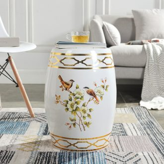 American painting of flowers and ceramic drum stool jingdezhen porcelain pier porcelain stool cold pier in shoes stool guzheng stool stool light luxury furnishing articles