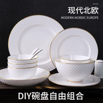 Nice dish dish Nordic tableware ceramics salad bowl noodle bowl of individual creative dishes household pure white