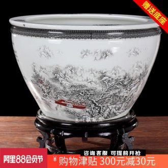 Jingdezhen ceramics than snow snow mountains brocade carp goldfish bowl water lily cylinder cylinder tortoise home decoration big furnishing articles
