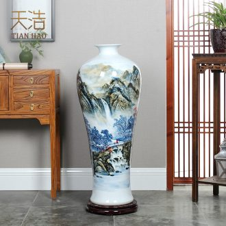 Jingdezhen ceramics hand-painted high blue and white porcelain vase of large hotel opening gifts sitting room adornment is placed