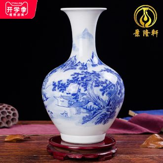 Jingdezhen ceramics landscape paintings of blue and white porcelain vases, the sitting room TV ark wine decorations furnishing articles household act the role ofing is tasted