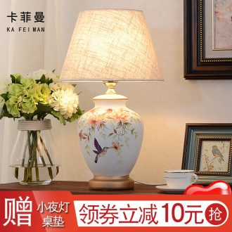 American ceramic desk lamp rural idyll contemporary and contracted lamp European sitting room decorate the study desk lamp of bedroom the head of a bed