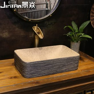 JingYan Chinese style wood art stage basin rectangle ceramic lavatory small antique basin sink restoring ancient ways