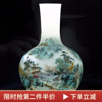 Jingdezhen ceramics vase famous hand-painted landscape tree Chinese style living room rich ancient frame furnishing articles home decoration