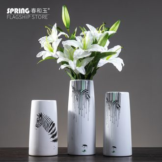 Jingdezhen ceramic vase Nordic zebra furnishing articles creative small pure and fresh and dry flower arranging flowers home sitting room adornment