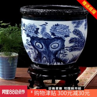 Hand draw birds pay homage to the king of blue and white porcelain of jingdezhen ceramics fish bowl brocade carp goldfish turtle cylinder home furnishing articles