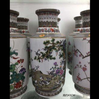 Jingdezhen porcelain 40 cm high wooden stick porcelain vases cranes lotus tong qu plum blossom tong qu vase