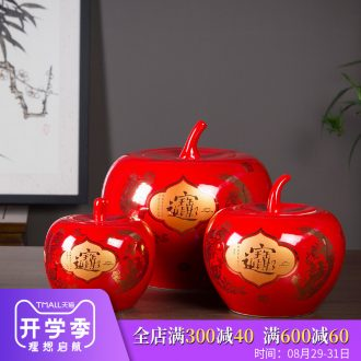 Jingdezhen ceramic apple furnishing articles a thriving business Chinese style household vase wedding decoration decoration large living room