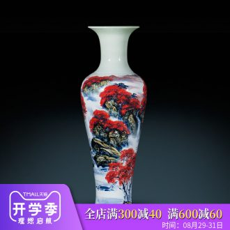Jingdezhen ceramics Chinese hand-painted landing big vase home sitting room hotel furnishing articles large red ornament