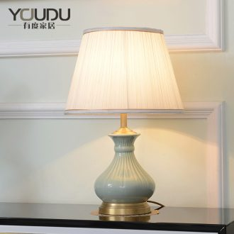 Ceramic full copper lamp American warm sitting room desk lamp of bedroom the head of a bed study villa hotel personality pure copper lamp