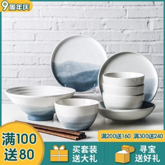Million fine Chinese ceramics tableware dishes suit ins wind personality web celebrity home eating food bowl dishes for breakfast