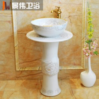 JingWei vertical lavabo ceramic column lavatory basin bathroom washs a face plate of decorative pattern of platinum peony