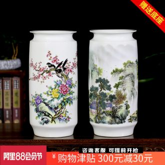 Jingdezhen ceramics spring scenery garden landscape painting sitting room study painting and calligraphy calligraphy and painting cylinder vase household furnishing articles