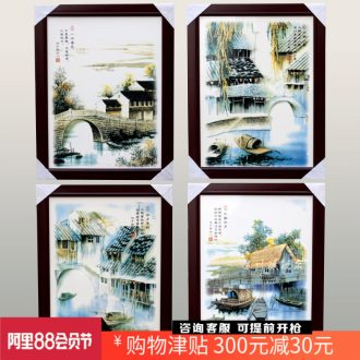 Jingdezhen ceramic painting enamel Bridges the somebody else four screen home sitting room hotel porcelain plate painting decoration hangs a picture