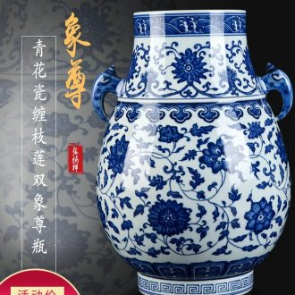 New Chinese style hand-painted blue and white porcelain of jingdezhen ceramics zen decorations furnishing articles sitting room porch porcelain vase