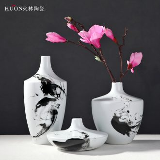 The modern new Chinese style Chinese wind hand-painted ink painting ceramic vase household act the role ofing is tasted furnishing articles of jingdezhen ceramic vase
