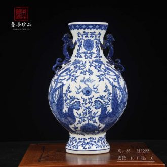 Jingdezhen double phoenix blue-and-white porcelain Chen vases, antique porcelain vase abnormity porcelain vase