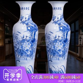 Jingdezhen ceramic big hand blue and white porcelain vase furnishing articles of Chinese style home sitting room ground adornment hotel decoration
