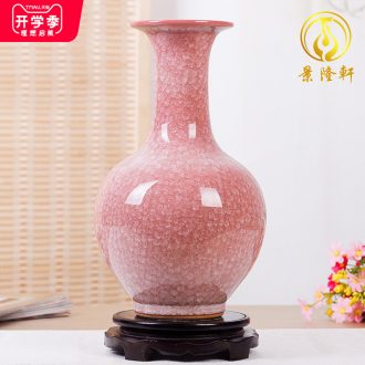 Jingdezhen ceramics borneol archaize kiln crack glaze vase modern household to decorate the living room TV ark furnishing articles