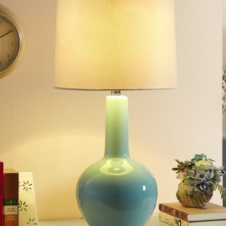 American simple atmospheric ceramic desk lamp lamp of bedroom the head of a bed new modern Chinese study suet jade large living room