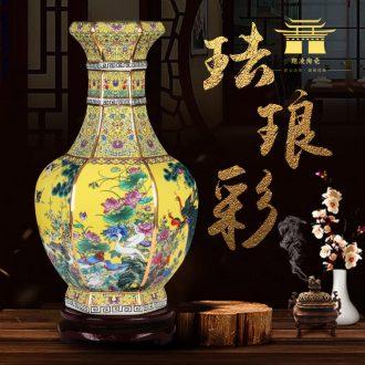 Chinese jingdezhen ceramics vase furnishing articles colored enamel decoration dried flowers flower arrangement sitting room adornment archaize handicraft