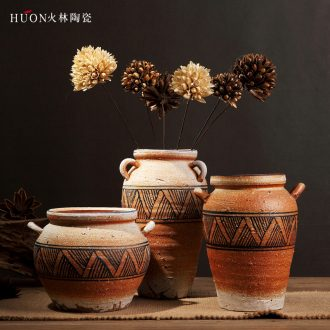 Jingdezhen manual coarse clay pottery jar flower vase flowerpot zen do old archaize handicraft furnishing articles